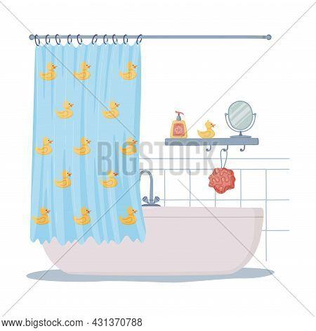 Bathroom Or Washroom Interior With Bathtub And Shower Curtain Vector Illustration