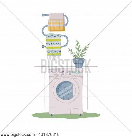 Bathroom Or Washroom Interior With Washing Machine And Towel Rail Vector Illustration