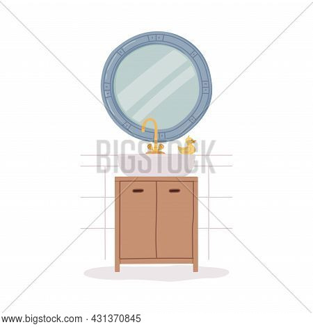 Bathroom Or Washroom Interior With Mirror And Sink With Tap Vector Illustration