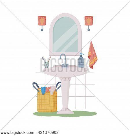 Bathroom Or Washroom Interior With Sink, Mirror And Laundry Basket Vector Illustration