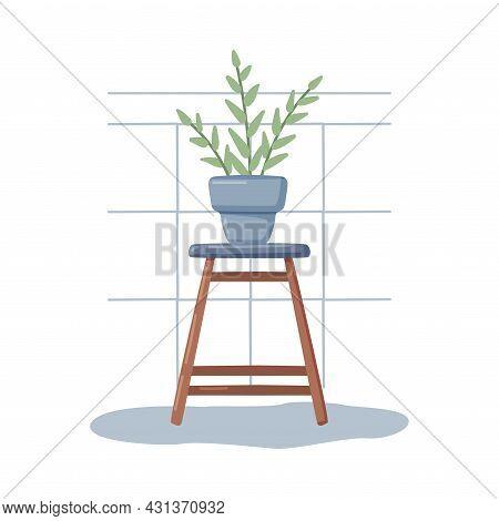 Bathroom Or Washroom Interior With Houseplant On Wooden Stool Vector Illustration