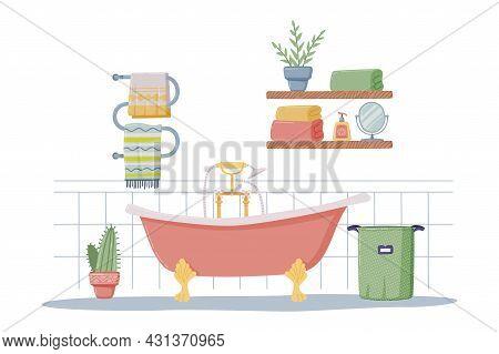 Bathroom Or Washroom Interior With Towel Rail, Bathtub And Laundry Basket Vector Illustration