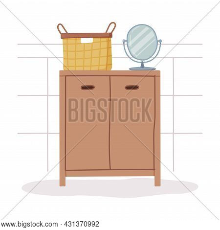 Bathroom Or Washroom Interior With Drawers And Mirror Vector Illustration