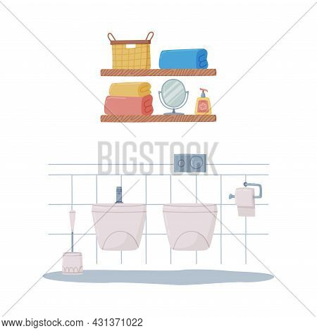 Bathroom Or Washroom Interior With Toilet Bowl And Bidet Vector Illustration