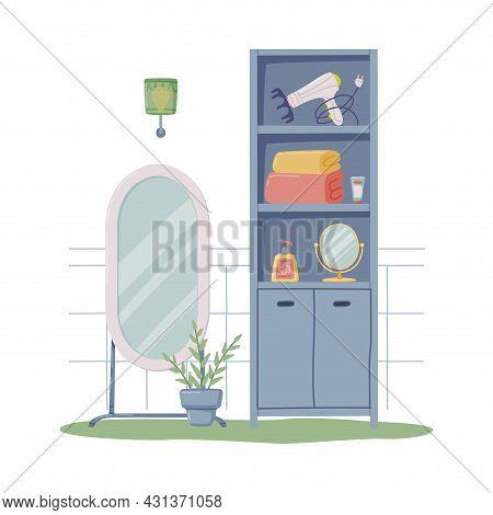 Bathroom Or Washroom Interior With Mirror And Cabinet Vector Illustration