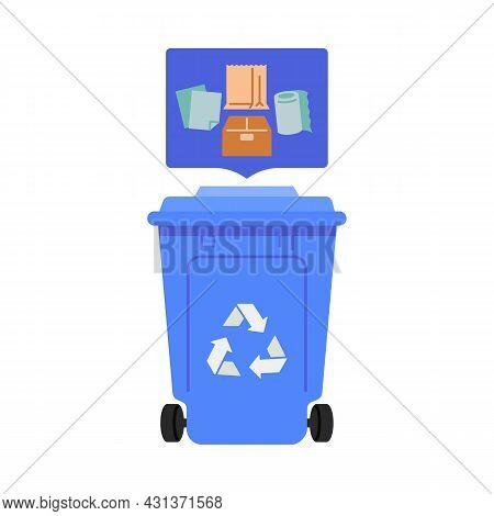 Paper Trash Bin Vector Illustration. Waste Segregation Concept. Flat Style Design. Colorful Graphics