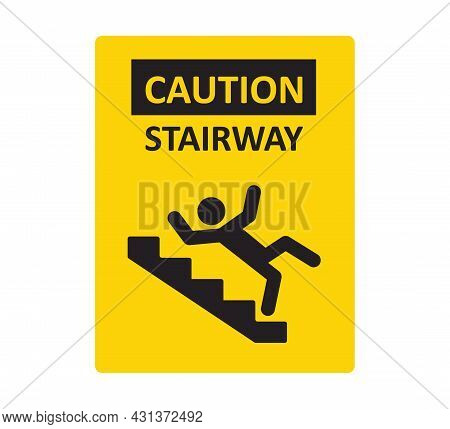 Caution Stairway Sign. A Man Falling Down The Stairs. A Sign Warning Of Danger. Slippery Stairs. Vec