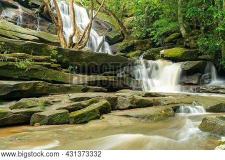 Wide Angle Shot Of High Spring Flow At Lower Somersby Falls Near Gosford On The Nsw Central Coast