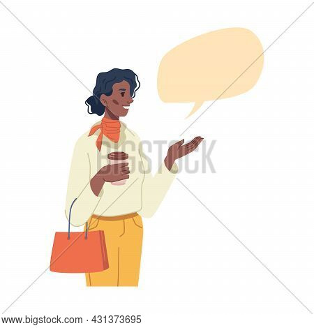 Happy African American Young Woman Holding Cup Of Coffee In Hand, Big Blank Speech Bubble Over Head