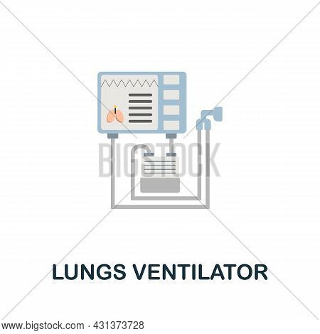 Lungs Ventilator Flat Icon. Colored Sign From Oxygen Collection. Creative Lungs Ventilator Icon Illu