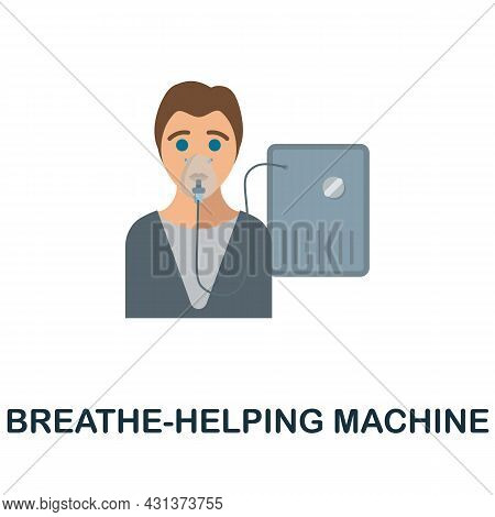 Breathe-helping Machine Flat Icon. Colored Sign From Oxygen Collection. Creative Breathe-helping Mac