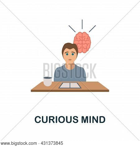 Curious Mind Flat Icon. Colored Sign From Personality Collection. Creative Curious Mind Icon Illustr