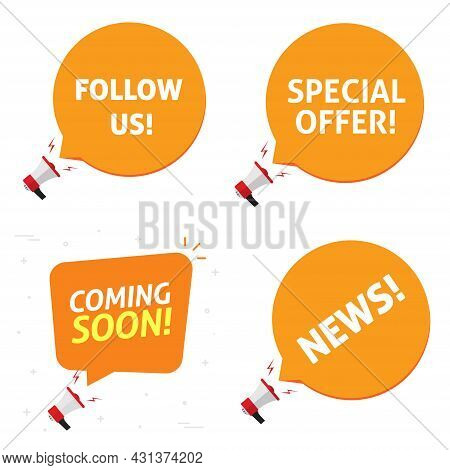 Special Offer And Coming Soon, Follow Us And News Announcement Notification Alerts Vector Set Flat C