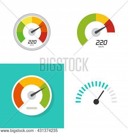Measure Speed Meter Gauge Or Speedometer Indicator Performance Score Dial Icon Vector Flat Cartoon I