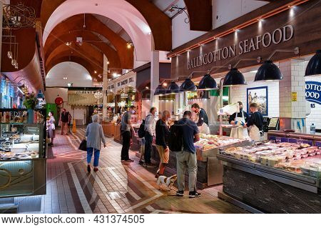 Cork, Ireland- July 14, 2021: Ballycottton Seafood Stant At The Main Entrance To The English Market