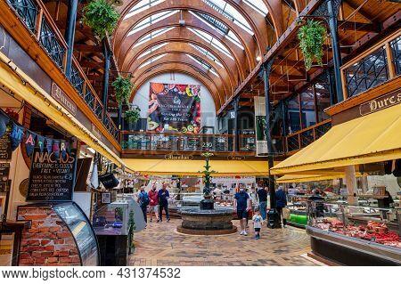 Cork, Ireland- July 14, 2021: The Interior Of The English Market Cork