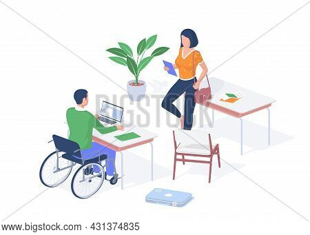 Disabled Student In Individual Lesson. Guy In Wheelchair Sits Desk With Laptop. Woman With Tablet Gi