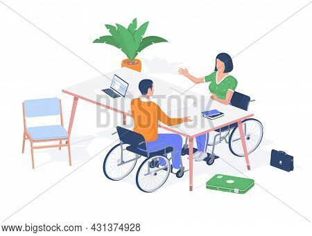 Students With Disabilities Discussing Exam. Guy With Woman In Wheelchairs Debating Education. Laptop