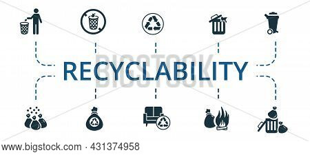 Recyclability Icon Set. Contains Editable Icons Theme Such As Not Recyclable, Rusniture Recycling, T