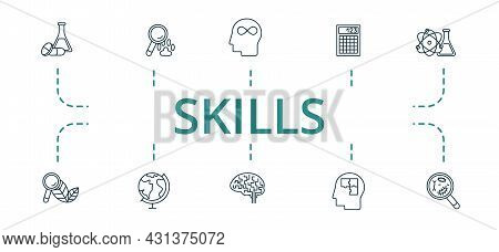 Skills Icon Set. Contains Editable Icons Theme Such As Geography, Neurobiology, Logics And More.