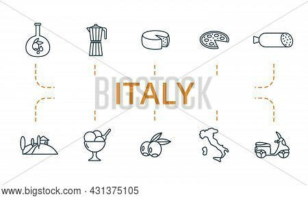 Italy Icon Set. Contains Editable Icons Italy Theme Such As Parmesan, Olives, Gelato Bowl And More.