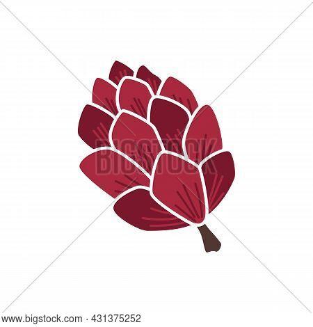 Cute Cartoon Pine Cone Icon. Autumn Clipart, Element, Object, Item.