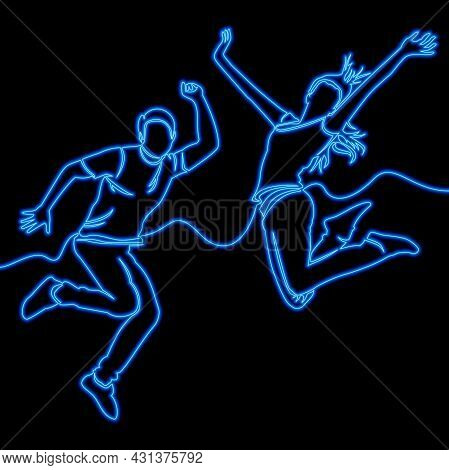 Continuous One Single Line Drawing Happy Couple Jumping In Excitement Icon Neon Glow Vector Illustra