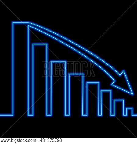 Continuous One Single Line Drawing Declining Graph Business Chart Loss Schedule Icon Neon Glow Vecto
