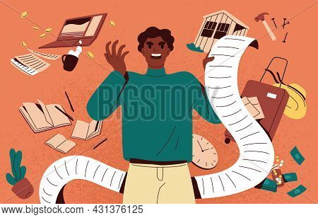 Multitasking Concept. Angry Busy Person In Stress With Many Tasks. Man Overloaded With Lot Of Busine