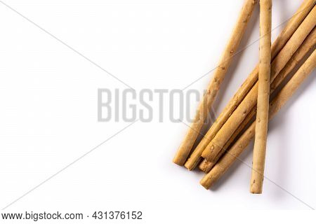 Breadstick Grissini Snack Isolated On White Background. Copy Space