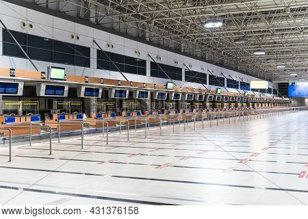 Empty Airport. Empty Terminal At An International Airport During The Coronavirus Pandemic With Cance