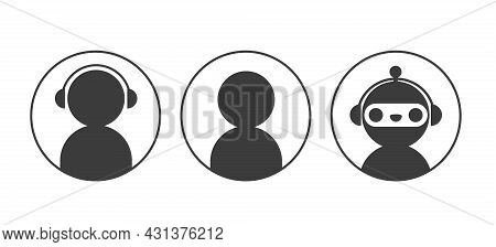 Chatbot Robot And User Icons In Circle Set. Elements For Design Online Support Service Dialogue Wind