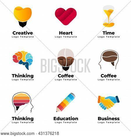 Colorful Vector Logo Templates Set. Abstract Educational Sign. Creative Thinking. Medical Heart Symb