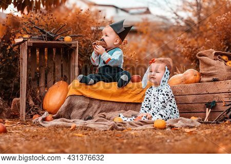 Halloween Holiday. A Boy In A Pirate Costume And A Funny Girl In A Dalmatian Costume, Surrounded By