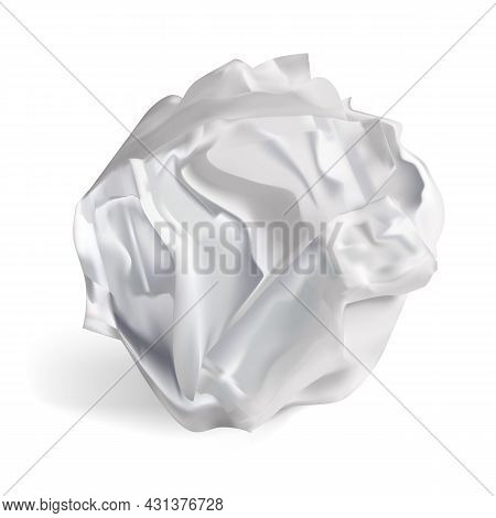 Realistic Detailed 3d White Crumpled Paper Ball Isolated On A Background. Vector Illustration Of Wri