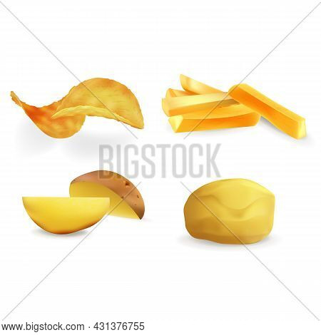 Realistic Detailed 3d Different Views Potatoes Vegetable Set Include Of Potato Chips And French Frie