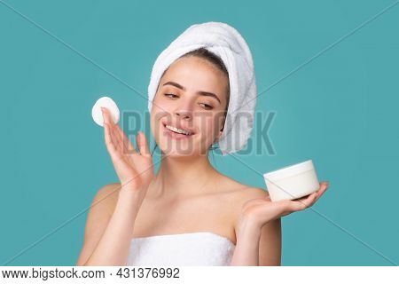 Beautiful Woman With Clean Fresh Skin. Facial Treatment, Cosmetology, Beauty And Spa. Young Girl Wit