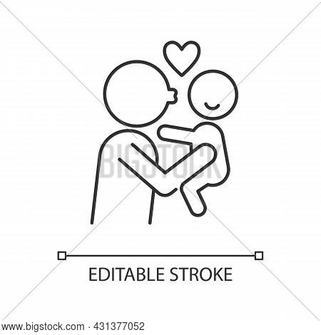 Kissing Child On Cheek Linear Icon. Showing Affection. Express Parental Love To Baby. Thin Line Cust