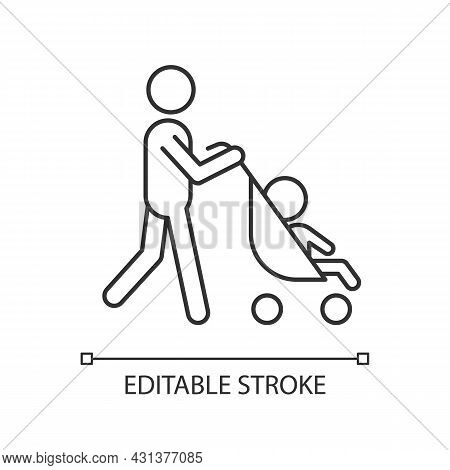 Walking With Stroller Linear Icon. Early Bonding Time With Newborn. Walk With Baby Carriage. Thin Li