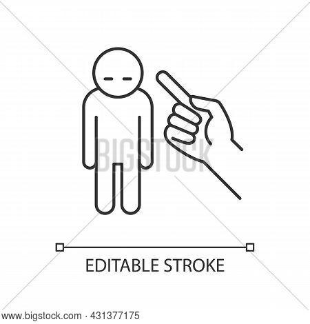 Punishment Gesture Linear Icon. Respond To Child Bad Behavior. Authoritarian Parent. Thin Line Custo