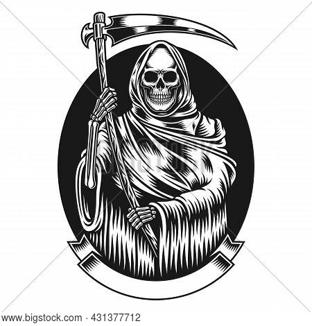 Grim Reaper With Scythe Vector Graphic On White