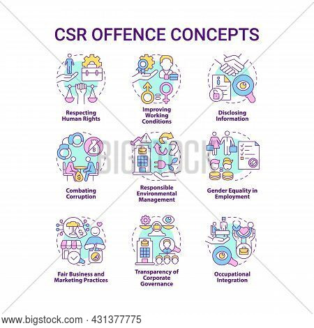 Corporate Social Responsibility Offence Concept Icons Set. Workplace Rights. Voluntary Policies And