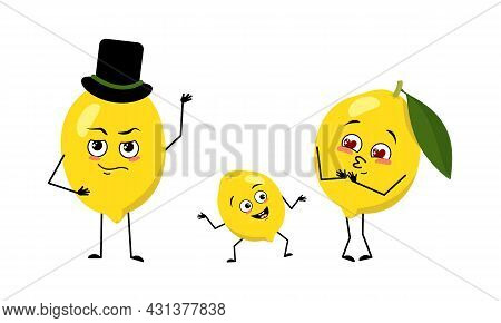 Family Of Cute Lemon Characters With Joyful Emotions, Smiling Face, Happy Eyes, Arms And Legs. Mom I