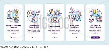 Csr Basics Onboarding Mobile App Page Screen. Corporate Social Responsibility Walkthrough 5 Steps Gr