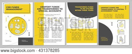 Corporate Social Responsibility Funds Yellow Brochure Template. Flyer, Booklet, Leaflet Print, Cover