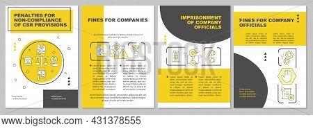 Csr Penalties Yellow Brochure Template. Breach Consequences. Flyer, Booklet, Leaflet Print, Cover De
