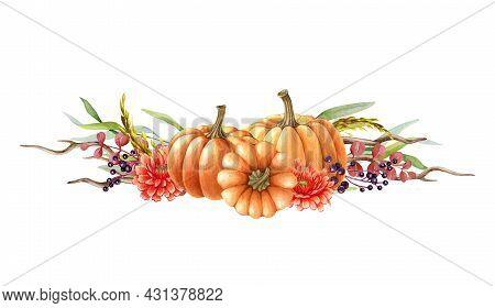 Pumpkin Autumn Floral Arrangement. Watercolor Illustration. Hand Drawn Rustic Festive Decor With Pum