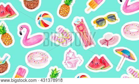 Watercolor Pattern With Cute Summer Vacation Objects Food, Drinks, Fruits, Flamingos And Girl . Coll