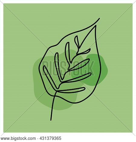 Leaf, Continuous One Line Art, Single Line Drawing Art, Organic Design, Simple Art Design, Abstract