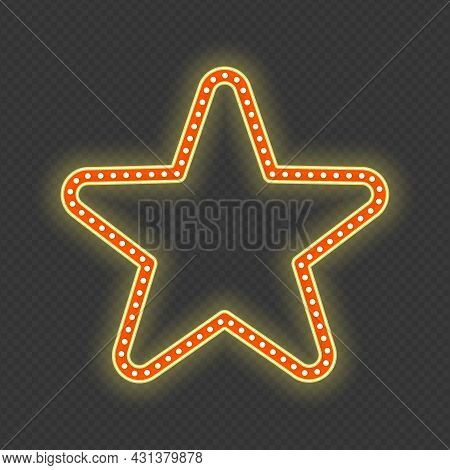 Star Glowing Retro Banner Isolated On Transparent Background. Vintage Retro Realistic Frame In The S
